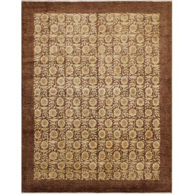 One-of-a-Kind Leann Hand Knotted Rectangle Wool Chocolate Area Rug