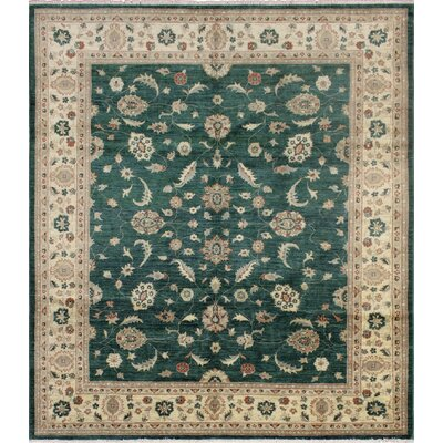 One-of-a-Kind Leann Hand-Knotted Wool Green/Ivory Area Rug