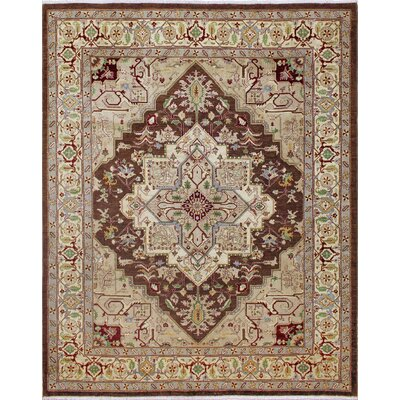 One-of-a-Kind Leann Hand-Knotted Oriental Wool Chocolate Area Rug