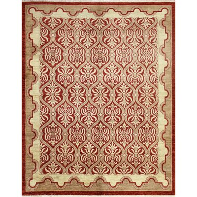 Leann Hand-Knotted Rectangle Wool Red Area Rug