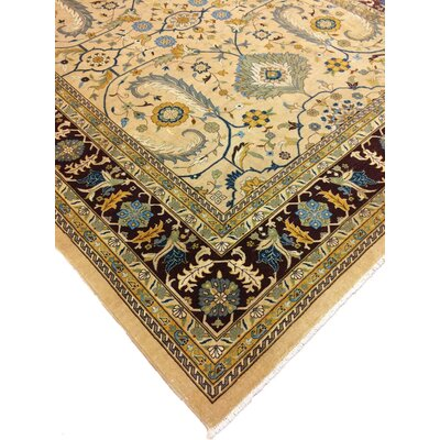 Arthen Hand Knotted Wool Gold Area Rug Rug Size: Rectangle 9 x 118