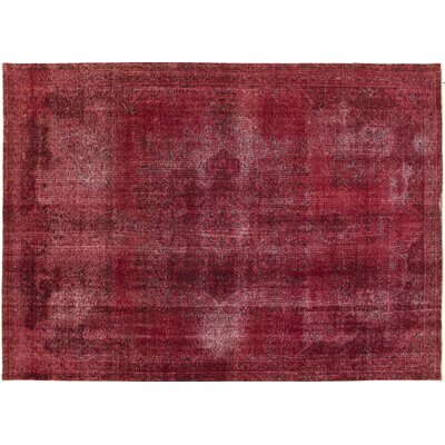 Chaney Distressed Hand-Knotted Wool Red Area Rug