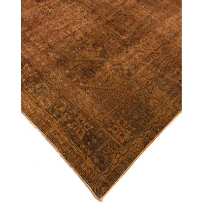 Chanelle Distressed Hand-Knotted Wool Brown Area Rug