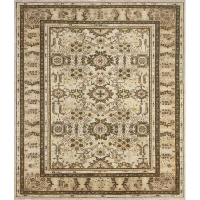 One-of-a-Kind Leann Hand Knotted Rectangle Wool Beige Area Rug