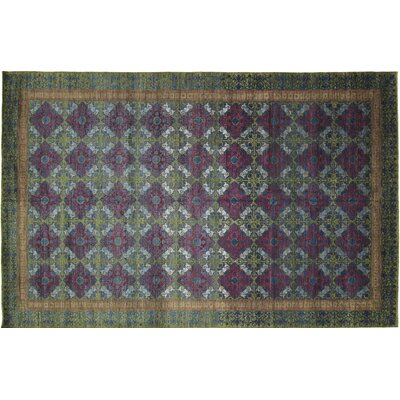 One-of-a-Kind Leann Hand Knotted Premium Wool Blue Area Rug