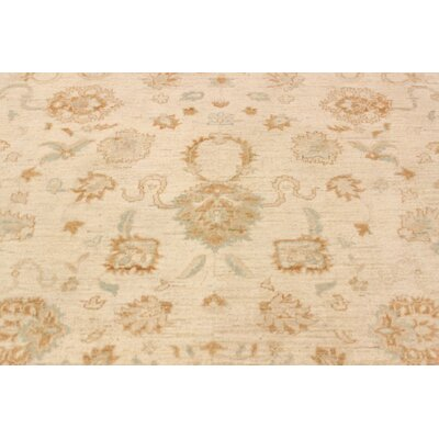 Leann Hand-Knotted Oriental Rectangle Wool Beige Area Rug