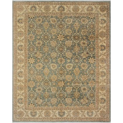 One-of-a-Kind Leann Hand Knotted Wool Gray/Green Area Rug