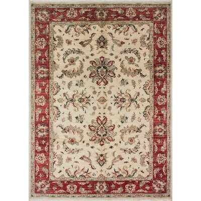 Leann Hand-Knotted Wool Oriental Ivory/Red Area Rug