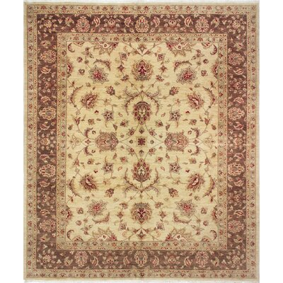 One-of-a-Kind Leann Hand Knotted Wool Beige Area Rug