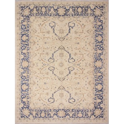 One-of-a-Kind Leann Hand Knotted Rectangle Wool Ivory Area Rug