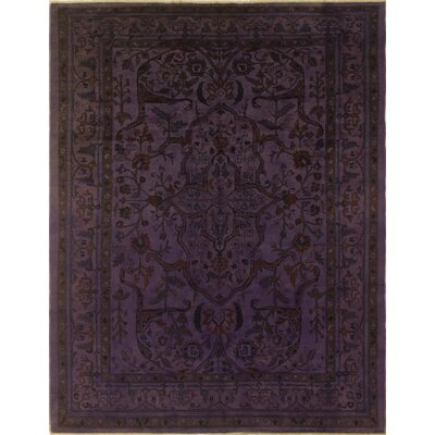 One-of-a-Kind Leann Hand Knotted Wool Purple Area Rug