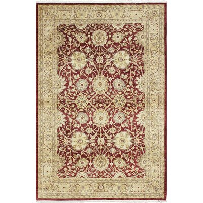 One-of-a-Kind Montague� Hand-Knotted Premium Wool Red/Beige Area Rug