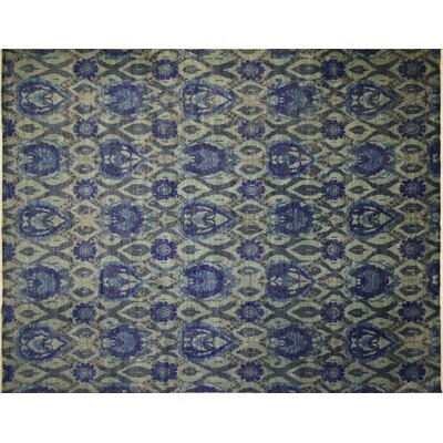 Harkness Hand-Knotted Wool Green/Blue Area Rug