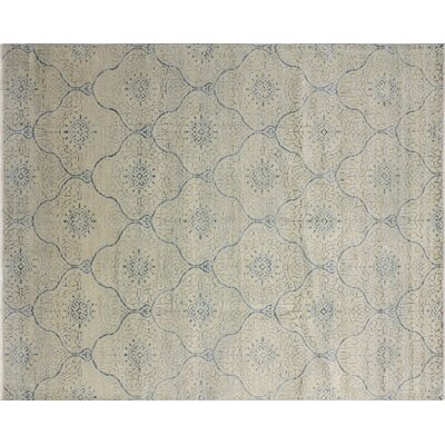 Harkness Hand-Knotted Ivory/Blue Area Rug