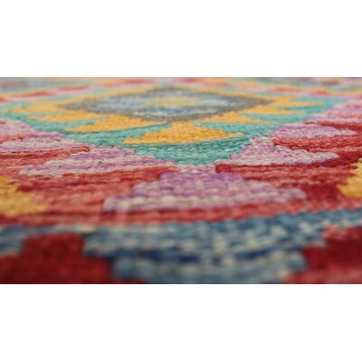 Vallejo Kilim Siren Hand-Woven Wool Purple Area Rug