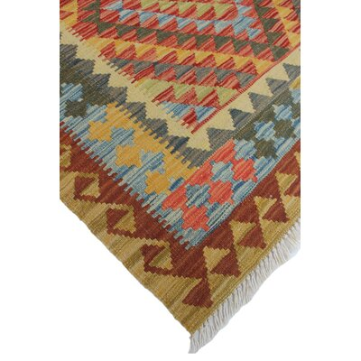One-of-a-Kind Rucker Kilim Tanyeli Hand-Woven Wool Rust Area Rug