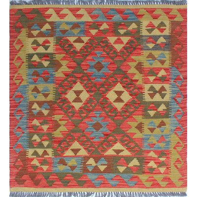 One-of-a-Kind Rucker Kilim Melek Hand-Woven Wool Rust Area Rug