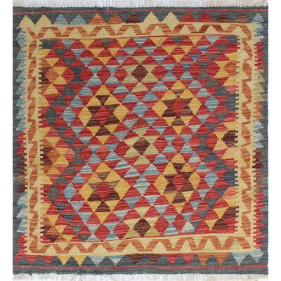 One-of-a-Kind Rucker Kilim Petek Hand-Woven Wool Rust Area Rug