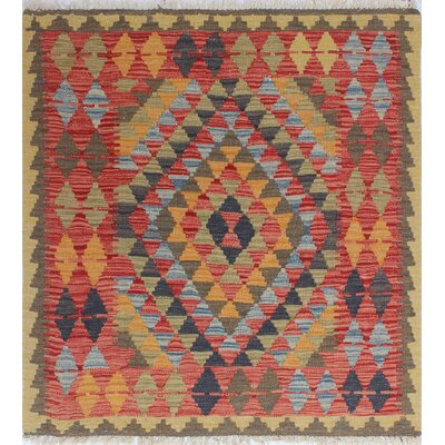 One-of-a-Kind Rucker Kilim Nurten Hand-Woven Wool Red Area Rug