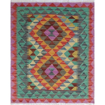 One-of-a-Kind Rucker Kilim Zaide Hand-Woven Wool Purple Area Rug