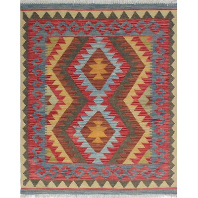 One-of-a-Kind Rucker Kilim Vesile Hand-Woven Wool Rust Area Rug