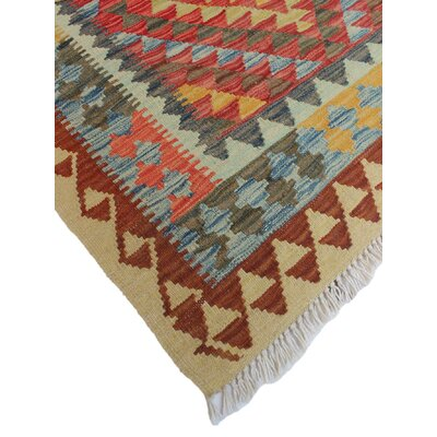 One-of-a-Kind Vallejo Kilim Diler Hand-Woven Wool Rust Area Rug