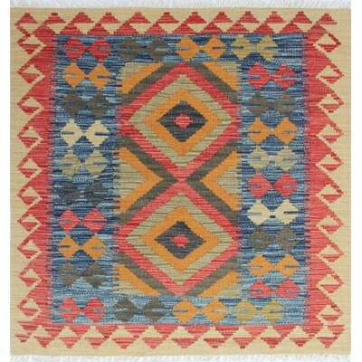 One-of-a-Kind Vallejo Kilim Semiha Hand-Woven Wool Gold Area Rug