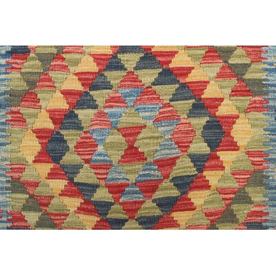 One-of-a-Kind Rucker Kilim Nurseli Hand-Woven Wool Blue Area Rug
