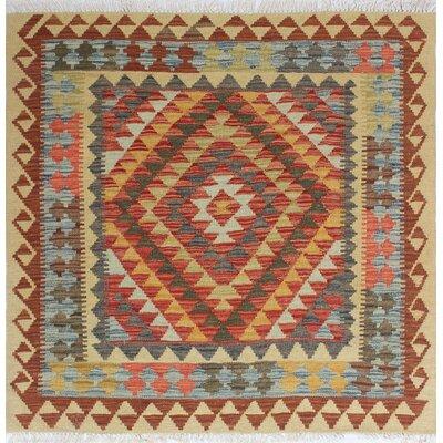 Vallejo Kilim Bahriye Hand-Woven Wool Rust Area Rug