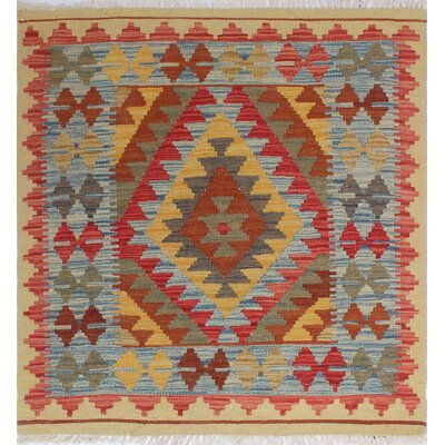 One-of-a-Kind Rucker Kilim Zekiye Hand-Woven Wool Rust Area Rug
