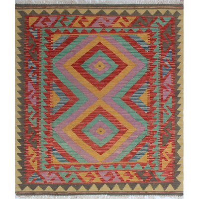 One-of-a-Kind Rucker Kilim Nisan Hand-Woven Wool Rust Area Rug