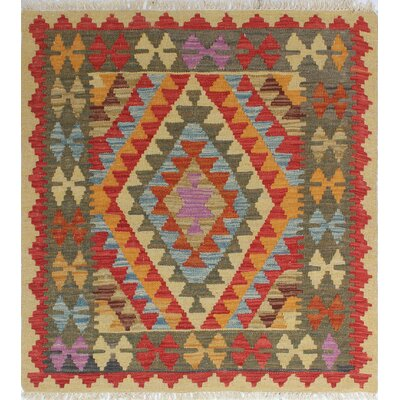 One-of-a-Kind Vallejo Kilim Birsen Hand-Woven Wool Gold Area Rug