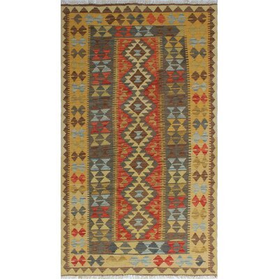 Vallejo Kilim Sezer Hand-Woven Wool Gold Area Rug