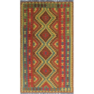 One-of-a-Kind Vallejo Kilim Dilruba Hand-Woven Wool Gold Area Rug