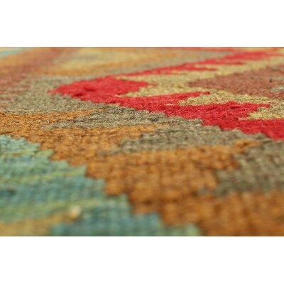 One-of-a-Kind Rucker Kilim Nigar Hand-Woven Wool Red Area Rug
