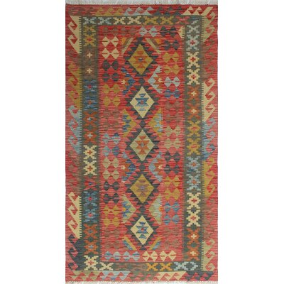 One-of-a-Kind Vallejo Kilim Berrin Hand-Woven Wool Red Area Rug