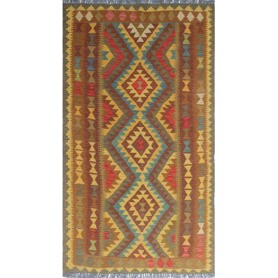 One-of-a-Kind Rucker Kilim Piraye Hand-Woven Wool Gold Area Rug