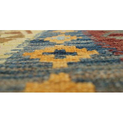 One-of-a-Kind Vallejo Kilim Tansu Hand-Woven Wool Gold Area Rug