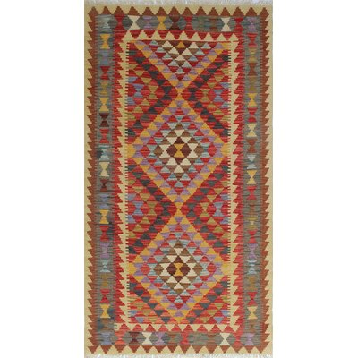 One-of-a-Kind Rucker Kilim Sezen Hand-Woven Wool Red Area Rug