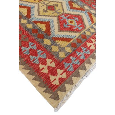 One-of-a-Kind Vallejo Kilim Fem Hand-Woven Wool Beige Area Rug