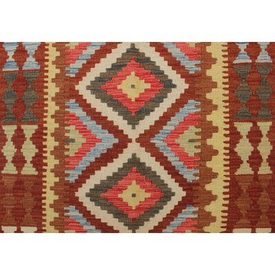 One-of-a-Kind Rucker Kilim Dilar Hand-Woven Wool Rust Area Rug