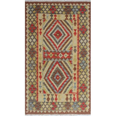 Vallejo Kilim Asiye Hand-Woven Wool Red Area Rug