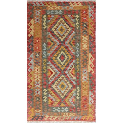 Vallejo Kilim Azize Hand-Woven Wool Red Area Rug