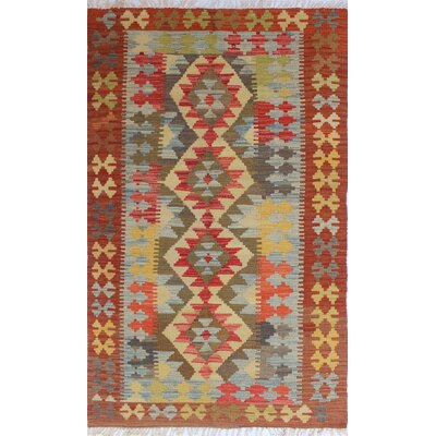 One-of-a-Kind Rucker Kilim Suat Hand-Woven Wool Beige Area Rug