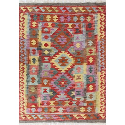 One-of-a-Kind Vallejo Kilim Pervin Hand-Woven Wool Red Area Rug
