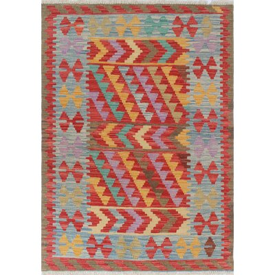 Vallejo Kilim Naciye Hand-Woven Wool Red Area Rug