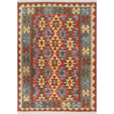 Vallejo Kilim Seher Hand-Woven Wool Red Area Rug