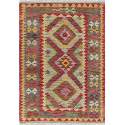 Vallejo Kilim Sevtap Hand-Woven Wool Red Area Rug