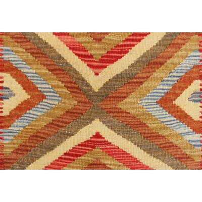 One-of-a-Kind Rucker Kilim Masal Hand-Woven Wool Rust Area Rug