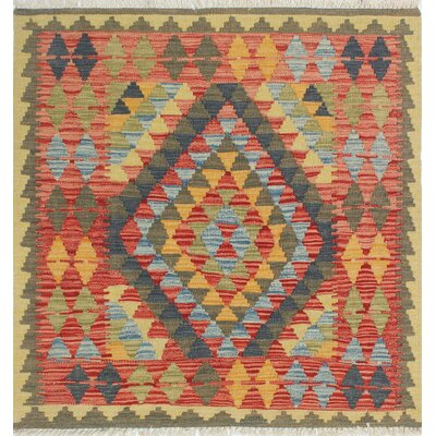 One-of-a-Kind Vallejo Kilim Nurhan Hand-Woven Wool Green Area Rug